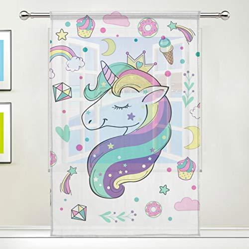 Cpyang, tenda velata con stelle, arcobaleno, unicorno, voile, tenda drappeggio per soggiorno, camera da letto, porta, cucina, 140 x 198 cm, 1 pannello, Tessuto, Multi, 55 x 84 inch
