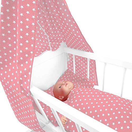 Sugarapple 4-teiliges Set für Puppenwiegen bestehend aus Himmel, Kissen, Bettdecke, Matratze aus Baumwolle, Rosa Sterne weiß
