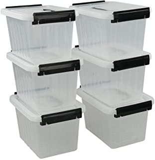 Idomy 6-Pack Tiny Clear Latching Boxes with Handle, 2.5 Quart Plastic Storage Box