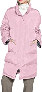 Womens Winter Casual Plus-Size Mid-Length Faux-Fur Collar Button Coat Down Jacket Outwear with Hood