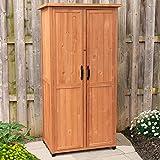 Leisure Season VSS3005 Vertical Storage Shed - Brown - Indoor and Outdoor Wooden Equipment Closet - Lockable Lawn, Garden, Backyard, Patio Tool Cabinet Organizer - Large Locker with Door and Shelves
