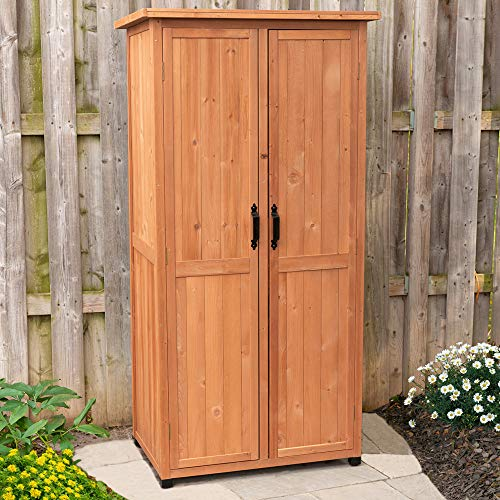 Leisure Season VSS3005 Vertical Storage Shed - Brown - Indoor and Outdoor Wooden Equipment Closet - Lockable Lawn, Garden, Backyard, Patio Tool Cabinet Organizer - Large Locker with Door and Shelves