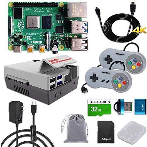 GeeekPi Raspberry Pi 4 8GB RAM Starter Kit with 32GB Micro SD Card, Nes4Pi Case, 5V 3A USB-C Power Supply, 2PCS Game Controllers, Heatsinks, Cooling Fan, Micro HDMI Cable and SD Card Reader