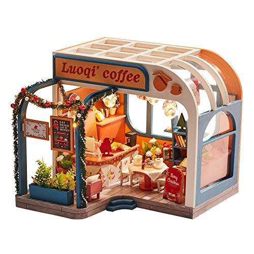 smileyshy Casa de muñecas DIY pequeña casa montada casa de café Modelo de Navidad Regalo de cumpleaños con luz LED