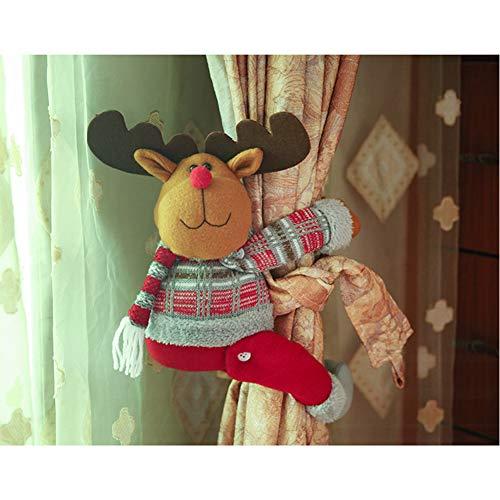 Jyebjd decoratiegesp voor gordijnen, Kerstmis, decoratie, pop, cartoon, kerstdecoratie, feestartikelen
