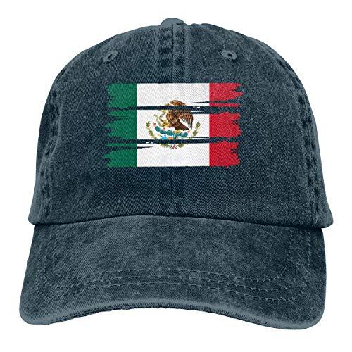 Desconocido Gorras de béisbol de Mezclilla de algodón Ajustables para Hombres o Mujeres Sombrero de papá con Bandera de México