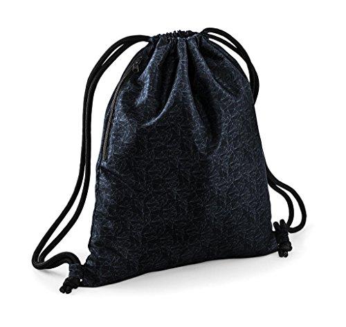 Zaino Zainetto Sacca con Chiusura a coulisse Graphic Drawstiling Backpack by BAG BASE design Nero Geometrico