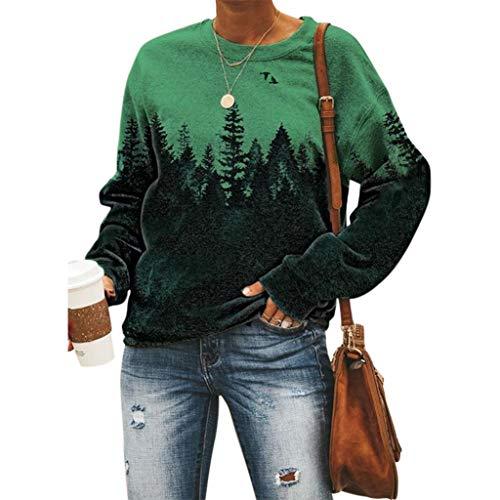 Langarmshirt Damen, Retro Wald Forest Pullover Frauen Pulli Sweatshirt Langarm Shirts Teenager Mädchen Elegant Bedrucktes Oberteil Hemd Lässig Oversize Bluse Tops (Grün,5XL)