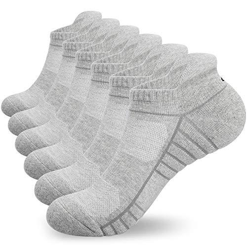 Lapulas Socken Herren Damen 6 Paar Sneaker Scoken Sportsocken Baumwolle laufsocken mit Frotteesohle Freizeit Atmungsaktiv Antirutsch 35-50 bequemere verbesserte kurze Socken (Hellgrau, 39-42)
