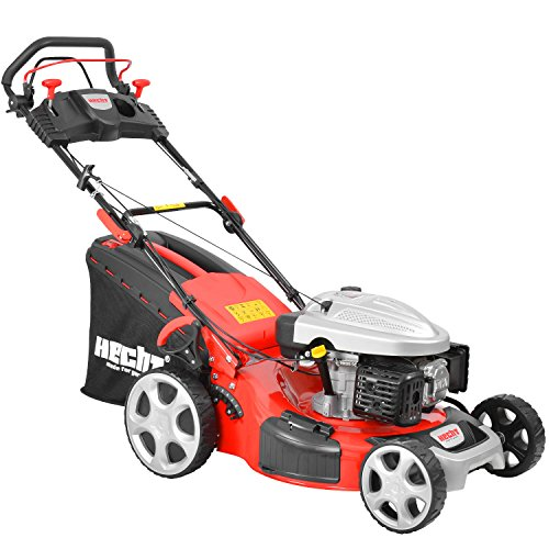 HECHT Benzin-Rasenmäher 5534 SX Benzin-Mäher (4,4 kW (6,0 PS), Schnittbreite 51 cm, 60 Liter Fangkorbvolumen, 7-fache Schnitthöhenverstellung 25-75 mm, Radantrieb)