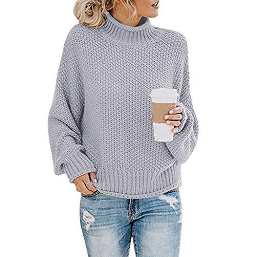 ESAILQ Kleider Strickpullover Damen Sweatshirt Sweater Hohe Kragen Lässig Freizeit Pullover Strickpulli Oberteile Oversize