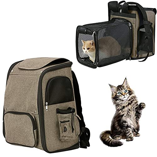 Mochila transportadora para mascotas, mochila para perros, expandible con malla transpirable, portabebés para perros pequeños, mochila para senderismo, viajes, camping, color marrón