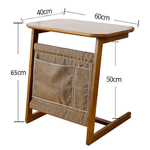 Jcnfa Table d'appoint, 100% bois de bambou amovible Snack End Couch Console avec sac de rangement pour canapé-lit Manger Écrire Lecture Salon