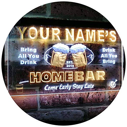 ADVPRO Personalized Your Name Custom Home Bar Beer Est. Year Dual Color LED Barlicht Neonlicht Lichtwerbung Neon Sign White & Yellow 400mm x 300mm st6s43-p-tm-wy