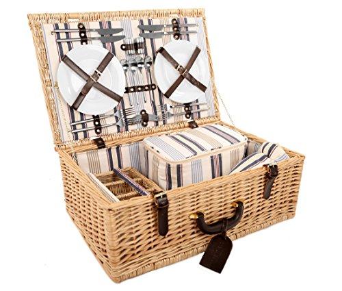 Greenfield Collection (GG032) Deluxe Windsor Picknickkorb für 4Personen, Weide, Futter in blau/cremeweiss gestreift