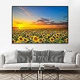 Imágenes de flores de paisaje de girasol, lienzo de arte pop, póster panorámico, pintura de arte moderno para pared, decoración para sala de estar, 30x55 cm (12'x 22') sin marco