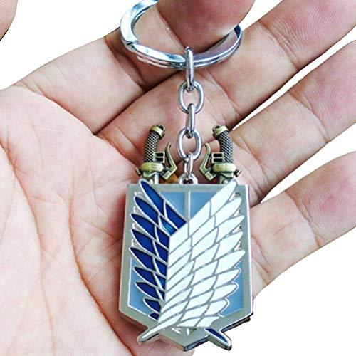 Stecel Attack on - Portachiavi in titanio per cosplay, con ciondolo a forma di ali della libertà, logo Scouting Legion, per bambini/ragazzi/adolescenti/fan dell'animo