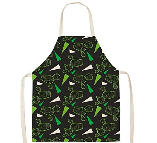 KaiXINSun Delantal Hogar Algodón Y Lino Tela Suave Dibujo Verde Cactus, BBQ Cocineros Chefs Jardinería Mujeres Hombres Niños Adultos Papá Regalo De Cumpleaños 55X68Cm
