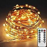 E T EASYTAO Guirnalda de luces LED 10M, USB Luces de Hadas 100Leds Impermeable, Control Remoto de 8 Modos, Alambre de Cobre para Fiesta, Navidad, Boda, Casa, Jardín etc.