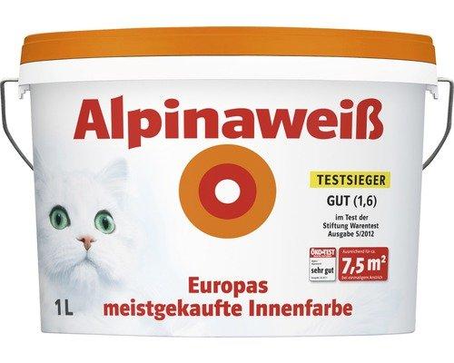 Alpina Wandfarbe Alpinaweiß matt 1 Liter Alpina Alpinaweiß matt 1 Bild