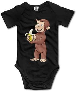 Newborn Clothes Curious George Eat Banana Vintage Funny Onesies Black