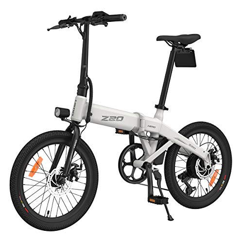 HIMO Z20 Bicicleta eléctrica Plegable 25 km/h 80KM kilometraje 250W 3 Modos de conducción IP7X Impermeable 20 Pulgadas ebike para Mujeres Hombres niños (enviado Desde Polonia) (Blanco)