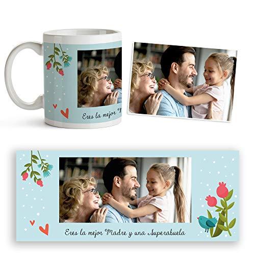 Fotoprix Taza Personalizada Eres la Mejor madre y una Super Abuela | Regalo día de la Madre personalizado | Varios diseños Disponibles. (Diseño: Madre 8)
