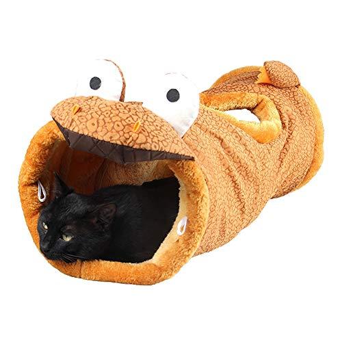 LIBILAA Cat nestrol naar de grond Dragon Factory Cat benodigdheden Kat Speelgoed Vouwen Kat Kanaal Giraffe Tunnel, Dinosaurus