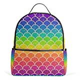 Mochila Mochila Bolsa de Hombro Niña Flor Impresa Mochila Escuela Personalizada Bolsas de Escuela, arcoíris (Multicolor) - g970406p132c146s222