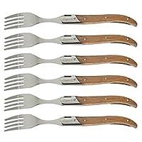 flying colors laguiole set di forchetta in acciaio inossidabile, manico in legno di gomma, confezione di regalo, 6 pezzi.i-tls302-fe