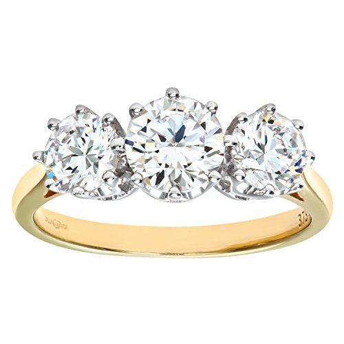 Citerna Women's 9 ct Yellow Gold Cubic Zirconia Three Stone Ring, Size T