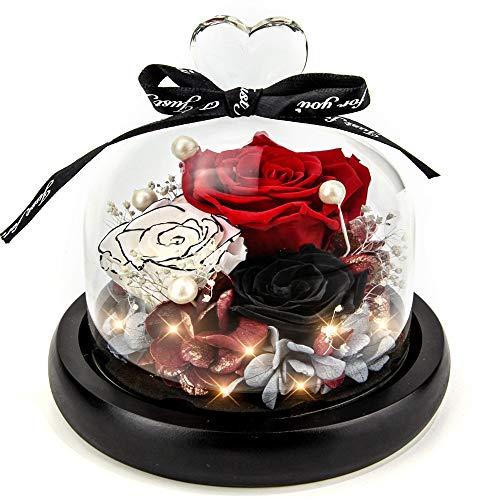 Echte Ewige Rosen – Kylin Glory Konservierte Blumen Geschenk LED Lichterkette Hochzeit Valentinstag Geburtstag Muttertag Jubiläum Elegantes Geschenk für Freundin Frau Mutter Frauen (Fire Rot)