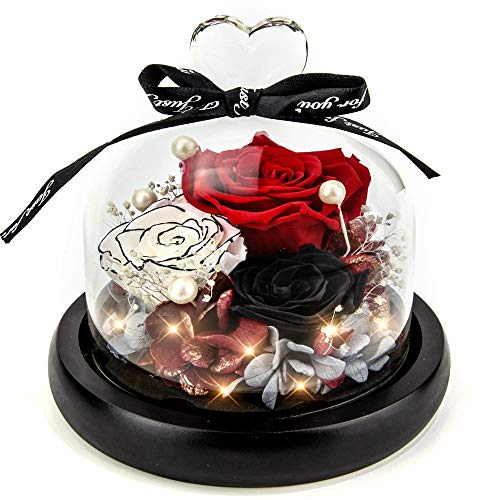Forever Flowers Real Eternal Roses - Kylin Glory Preserved Flowers Gift with LED Mood Lights for Valentine's Day Birthday Anniversary, Elegant Present for Girlfriend Wife Mom Women (Fire Red)