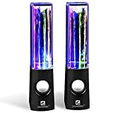 SoundSOUL Water Dancing Speakers Light Show Water Fountain Speakers LED Speakers (3.5mm Audio Plug, 4 Colored LED Lights, Portable Speakers) - Black