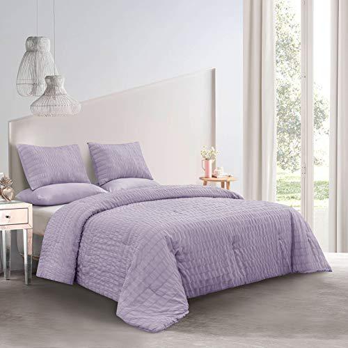 MP+NJ Light Weight Polyester Seersucker Comforter Set (Purple, Full)
