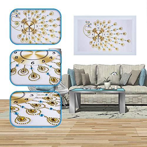 Janly Clearance Sale Artículos de decoración para el hogar, pintura de diamantes 5D especial bordado en forma de diamante reloj de pared DIY pintura diamante cruz StitcDecorativa, Ramadán amarillo