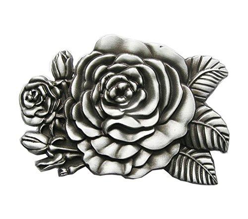 Schnalle123 Gürtelschnalle Western Rose Cowboy Blume 3D Optik für Wechselgürtel Gürtel Schnalle Buckle Modell 168