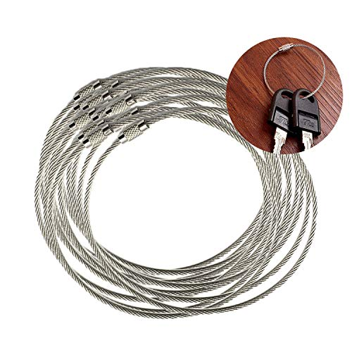 Hub's Gadget 50 Pcs Stainless Steel Wire Keychain for Hanging Keyrings Luggage Tag and ID Tag, Outdoor Hiking Travel Sports DIY Arts Crafts, Key Holder Smart Key Ring Organizers