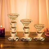 H&D - Elegante candelero de cristal  K9 cilíndrico transparente, ideal para la  decoración del hogar.