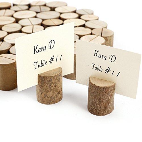 Ruilasago 50 x Holz Holzsteg Kartenhalter Platzkarte Tischkartenhalter Namesschild Fotohalter Hochzeit Deko