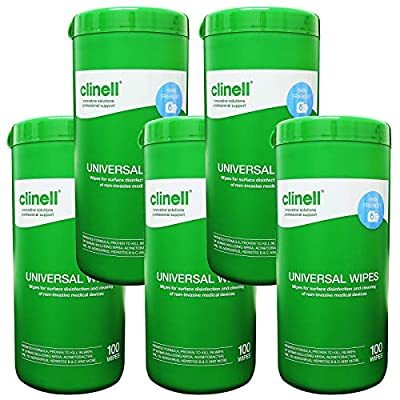 Clinell Universal Disinfecting Cleaning Medical Devices Equipment Surface Wipes Tub - 5 Tub Pack (100 Wipes per tub) from GAMA Healthcare