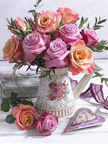 Mosaico de diamantes de flores kit de arte de flores completo 5d pintura de diamantes rosa rhinestone hobby y artesanía pintura de diamantes A3 40x50cm