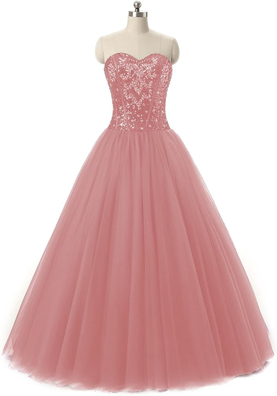 ANGELA Women's Sweetheart Beaded Long Tulle Prom Quinceanera Dresses