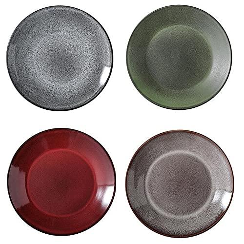 ELLENS Paquete de 4 Platos de Cena de Porcelana, Plato de Servicio Redondo de Estilo japonés para Cocina casera, Plato de Buffet