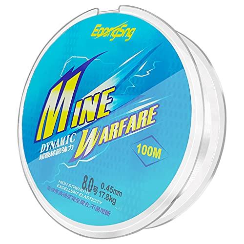 Angelschnur Monofil, Nylon Schnur 0,45mm/100m Tranparent Monofile Angelschnüre Angelsehne Fishing Line für Forelle Hecht Zander Karpfen usw.