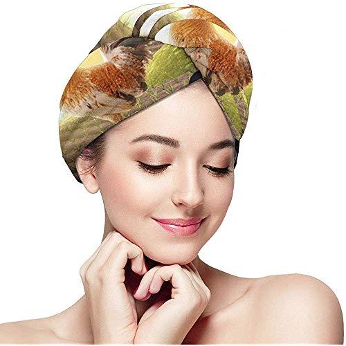 Xuetu Hahn auf Bauernhof-Zaun-Haar-trocknendem Tuch, Kappe des trockenen Haares, schnell trocknender Handtuch-Verpackungs-Turban mit Knopf, eingewickelte Badekappe