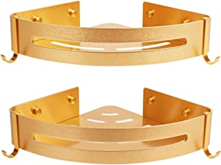 AriTan Aluminum Bathroom Shelves Storage 2 Tier, Wall Mount Corner Triangle Basket Organizer for Shampoo (Gold)