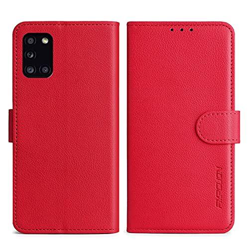 FMPCUON Handyhülle Kompatibel mit Samsung Galaxy A31 Hülle Leder PU Leder Tasche,Flip Hülle Lederhülle Handyhülle Etui Handytasche Schutzhülle für Galaxy A31,Rot