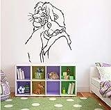 Rey León vinilo pared calcomanía decoración de guardería personaje de dibujos animados Simba Nala pegatinas de pared impermeables decoración de dormitorio de niños 56 * 42 cm