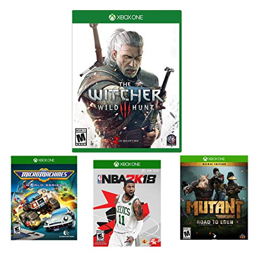 Microsoft Xbox One 4 Game Bundle - The Witcher 3: Wild Hunt, Mutant: Road to Eden Deluxe, NBA 2K18, Micro Machines World Series